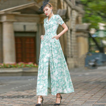 Dress Summer 2021 green S M L XL 2XL 3XL 4XL longuette singleton  Short sleeve commute V-neck middle-waisted Decor Socket other other Others 40-49 years old Type A Tiffany Runchi lady DZ1325 More than 95% polyester fiber Polyethylene terephthalate (polyester) 100% Pure e-commerce (online only)