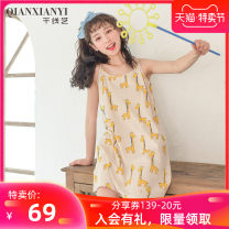 Nightdress Thousand Thread Art 160(M) 165(L) 170(XL) 175(XXL) Sweet camisole pajamas Short skirt summer Cartoon animation youth Crew neck cotton printing More than 95% pure cotton 200g Summer 2020 Cotton 95% polyurethane elastic fiber (spandex) 5% Same model in shopping mall (sold online and offline)
