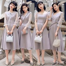Dress / evening wear Weddings, adulthood parties, company annual meetings, daily appointments S M L XL XXL XXXL Korean version Medium length middle-waisted Summer of 2019 A-line skirt Deep collar V zipper Solid color Grand ceremony and famous banquet other Polyester 80% other 20%