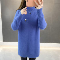 sweater Winter of 2018 S M L XL Blue beibai (this color is sold out, don't shoot) Long sleeves Socket singleton  Medium length Viscose 51% (inclusive) - 70% (inclusive) Half high collar Regular commute routine Solid color Straight cylinder Coarse wool Keep warm and warm 25-29 years old Jianyoumi