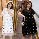 Women's large Summer 2020 6413 black 3xl140-170, 4xl170-200, 5xl200-235, 6xl235-270, 7xl270-310 Dress singleton  commute easy thin Socket Short sleeve Korean version polyester printing and dyeing