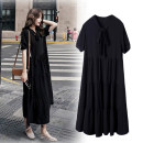Women's large Summer 2020 3xl140-170, 4xl170-200, 5xl200-235, 6xl235-270, 7xl270-310 Dress singleton  commute easy moderate Socket Short sleeve Korean version routine polyester routine 25-29 years old 96% and above longuette