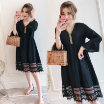 Women's large Autumn 2020 3xl140-170, 4xl170-200, 5xl200-235, 6xl235-270, 7xl270-310 Dress singleton  commute moderate Socket Long sleeves Korean version Collage 25-29 years old longuette