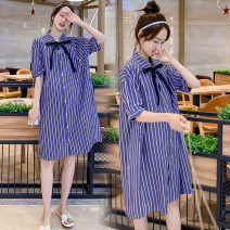 Women's large Summer 2020 shirt singleton  commute easy moderate Cardigan Short sleeve Korean version polyester