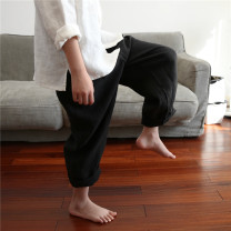 trousers Qiji neutral 100cm, 110cm, 120cm, 130cm, 140cm, 150cm, 160cm, mom M black spring and autumn trousers leisure time There are models in the real shooting Casual pants Leather belt middle-waisted flax Don't open the crotch Flax 100% Class B