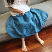 skirt 160cm, 130cm, 120cm, 140cm, 110cm, 100cm, 150cm, mom M Peacock blue, light Khaki shyrabbit female Flax 100% summer skirt Solid color other Cotton and hemp Class B