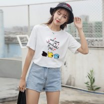 T-shirt Black, white S,M,L,XL,XXL,XXXL Short sleeve Crew neck Straight cylinder routine street other 96% and above 18-24 years old printing
