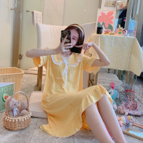 Nightdress Other / other 1101 goose yellow, 1101 green, 1101 fog blue, 1101 bean paste, 1102 goose yellow, 1102 green, 1102 fog blue, 1102 bean paste, 1103 goose yellow, 1103 green, 1103 fog blue, 1103 bean paste M,L,XL,XXL Sweet Short sleeve Middle-skirt summer Solid color cotton cotton