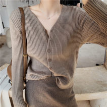 Wool knitwear Autumn 2020 S,M,L,XL Grey, black, coffee, beige Long sleeves singleton  Cardigan other 81% (inclusive) - 90% (inclusive) have cash less than that is registered in the accounts routine commute Self cultivation V-neck routine Solid color Single breasted Korean version