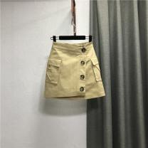 skirt Summer 2021 S,M,L,XL Khaki, white, black, bluish grey Short skirt commute High waist Denim skirt Solid color Type A 25-29 years old More than 95% Denim Ocnltiy cotton Pocket, button Korean version 201g / m ^ 2 (including) - 250G / m ^ 2 (including)