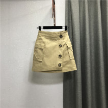 skirt Summer 2021 S,M,L,XL Khaki, white, black, bluish grey Short skirt commute High waist Denim skirt Solid color Type A 25-29 years old More than 95% Denim Ocnltiy cotton Pocket, button Korean version 201g / m ^ 2 (including) - 250G / m ^ 2 (including)