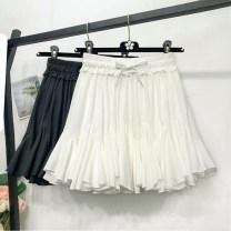 skirt Summer 2021 Average size Black, white Short skirt Versatile High waist Irregular Solid color Type A 18-24 years old More than 95% Chiffon Ocnltiy polyester fiber Fold, tie, splice