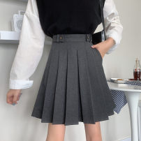 skirt Winter 2020 S,M,L,XL,2XL,3XL,4XL Black tweed, grey suit fabric, black suit fabric Middle-skirt commute High waist Pleated skirt Solid color Type A CG Wool Folds, pockets, sequins Korean version