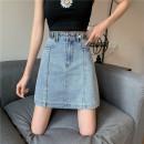 skirt Summer 2021 S,M,L,XL,2XL,3XL,4XL Short skirt Versatile High waist A-line skirt Solid color Type A LT Denim other Pockets, buttons, zippers, open trim