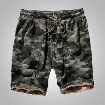 Casual pants yzgf Youth fashion XXL M L XL 3XL 4XL 5XL thin Shorts (up to knee) Other leisure easy get shot summer Youthful vigor 2020 middle-waisted Straight cylinder Cotton 100% Overalls Pocket decoration washing camouflage cotton Summer 2020 More than 95%