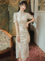 cheongsam Summer 2020 S,M,L Light apricot Long sleeves long cheongsam grace Low slit daily Oblique lapel Broken flowers Embroidery other 31% (inclusive) - 50% (inclusive)