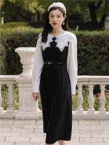 Dress Spring 2021 black S,M,L longuette singleton  Long sleeves commute Crew neck High waist Solid color zipper A-line skirt Type A Retro Embroidery, lace, lace 31% (inclusive) - 50% (inclusive) other other