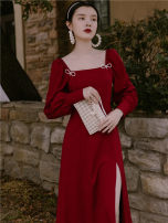Dress Autumn 2020 gules S,M,L,XL longuette singleton  Long sleeves commute square neck Solid color Socket A-line skirt shirt sleeve Type A Retro Bowknot, stitching, button, zipper