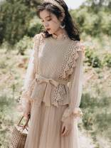 Dress Autumn of 2019 khaki S,M,L longuette Two piece set Long sleeves commute High waist Solid color Socket Big swing pagoda sleeve Others Other / other Retro Bow tie 81% (inclusive) - 90% (inclusive) Flannel polyester fiber