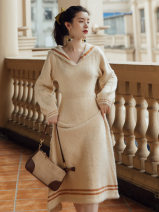 Dress Winter 2020 Cream apricot, coffee purple S,M,L longuette singleton  Long sleeves commute Admiral High waist Solid color Socket A-line skirt bishop sleeve Type A Other / other Retro Splicing