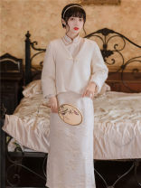 Dress Winter 2020 Off white [single cheongsam], Vest + cheongsam S,M,L longuette singleton  Long sleeves stand collar High waist Decor A-line skirt routine T-type