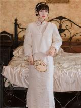 Dress Winter 2020 Off white [single cheongsam], Vest + cheongsam S,M,L longuette singleton  Long sleeves stand collar High waist Decor A-line skirt routine T-type
