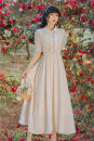 Dress Summer 2021 Apricot S,M,L longuette singleton  Short sleeve Doll Collar High waist Solid color zipper puff sleeve Type A Chiffon