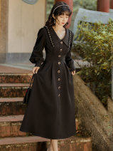 Dress Winter 2020 black S,M,L longuette singleton  Long sleeves commute Doll Collar High waist Solid color zipper A-line skirt bishop sleeve Type A Retro Beads, buttons