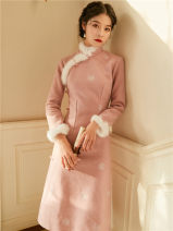 cheongsam Winter of 2019 S,M,L Pink Long sleeves long cheongsam Retro daily Solid color 18-25 years old