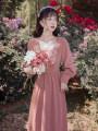 Dress Autumn 2020 Skin pink S,M,L,XL longuette singleton  Long sleeves square neck High waist Decor zipper A-line skirt puff sleeve Type A Embroidery