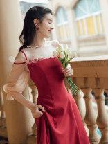 Dress Spring 2021 gules S,M,L longuette singleton  elbow sleeve One word collar High waist zipper A-line skirt puff sleeve camisole Type A Chiffon