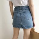 skirt Summer 2021 Light blue, dark blue Short skirt commute High waist A-line skirt Solid color Type A 18-24 years old 51% (inclusive) - 70% (inclusive) Denim cotton Korean version