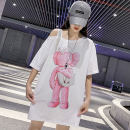 T-shirt White black S M L XL XXL Summer 2020 Short sleeve One word collar easy Medium length routine commute cotton 86% (inclusive) -95% (inclusive) 18-24 years old Korean version originality Cartoon animation Monfellcar / manfica MFK2913 Chain drill for printing and pasting cloth