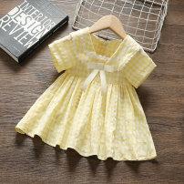 Dress female Yibailido 80cm 90cm 100cm 110cm Polyester 100% summer Korean version Long sleeves lattice Cotton blended fabric A-line skirt Summer 2021 12 months, 9 months, 18 months, 2 years, 3 years, 4 years