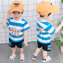 suit Yibailido 80cm 90cm 100cm 110cm 120cm male summer leisure time Short sleeve + pants 2 pieces Thin money There are models in the real shooting Socket nothing Cartoon animation cotton children Expression of love Cotton 80% polyester 20% Summer 2021