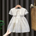 Dress female Yibailido Polyester 100% summer Korean version Short sleeve Solid color Cotton blended fabric Princess Dress bavv08767 3 months 12 months 6 months 9 months 18 months 2 years 3 years 4 years 5 years 6 years 7 years old Summer 2021 Chinese Mainland Off white pearl lace skirt