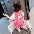 suit 2 pieces Condom children Expression of love Eqbu69068 Summer 2021 12 months 9 months 18 months 2 years 3 years 4 years 5 years 6 years old Yibailido summer female Solid color Thin Korean version There are models in the real shot Short sleeve + pants nothing 80cm 90cm 100cm 110cm 120cm 130cm