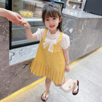 Dress female Yibailido 80cm 90cm 100cm 110cm 120cm 130cm Other 100% summer Korean version Skirt / vest Solid color cotton A-line skirt Summer 2021 12 months, 6 months, 9 months, 18 months, 2 years, 3 years, 4 years, 5 years, 6 years