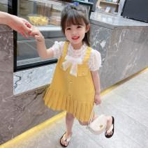 Dress female Yibailido 80cm 90cm 100cm 110cm 120cm 130cm Other 100% summer Korean version Skirt / vest Solid color cotton A-line skirt Summer 2021 12 months, 6 months, 9 months, 18 months, 2 years, 3 years, 4 years, 5 years, 6 years