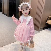 Dress Dovetail collar Lolita - Pink female Yibailido 90cm 100cm 110cm 120cm 130cm Polyester 100% spring and autumn Korean version Long sleeves Solid color cotton A-line skirt YBL4103 Summer 2021 12 months 9 months 18 months 2 years 3 years 4 years 5 years 6 years 7 years old