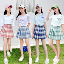 suit Other / other 90cm,100cm,110cm,120cm,130cm,140cm,150cm,160cm,170cm female summer leisure time Short sleeve + skirt 2 pieces routine There are models in the real shooting Socket nothing other Cotton blended fabric elder Expression of love YY20B1598—8 Class B Other 100%