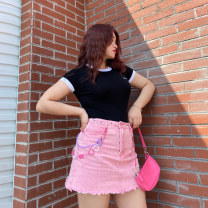 skirt Spring 2021 L,XL,2XL,3XL Pink Short skirt commute High waist A-line skirt Solid color 18-24 years old 88224Q0195 51% (inclusive) - 70% (inclusive) Button Simplicity