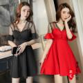 Dress Summer 2020 Black, red S,M,L,XL,2XL Short skirt singleton  Short sleeve V-neck High waist Solid color Three buttons A-line skirt pagoda sleeve Type A 81% (inclusive) - 90% (inclusive) polyester fiber