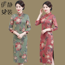 cheongsam Spring 2020 1XL,2XL,3XL,4XL,5XL Red chrysanthemum, golden chrysanthemum, green chrysanthemum three quarter sleeve long cheongsam Retro Low slit daily Oblique lapel Decor Over 35 years old Piping HF-192 Other / other other 96% and above