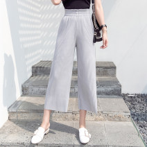 Casual pants Grey, pink, black S,M,L,XL,2XL Summer 2021 Ninth pants Wide leg pants High waist commute Thin money 18-24 years old 51% (inclusive) - 70% (inclusive) GH polyester fiber Korean version fold