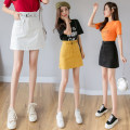 skirt Summer 2021 S,M,L,XL White, yellow, black Short skirt commute High waist A-line skirt Solid color Type A 18-24 years old DF 51% (inclusive) - 70% (inclusive) Korean version