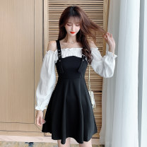 Dress Autumn 2020 black S,M,L,XL,2XL Short skirt Fake two pieces Long sleeves commute One word collar High waist Solid color zipper A-line skirt pagoda sleeve 18-24 years old Type A Retro DF 81% (inclusive) - 90% (inclusive) other nylon