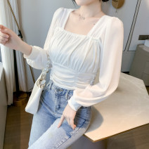 Lace / Chiffon Spring 2021 White, black S,M,L,XL,2XL Long sleeves commute Socket singleton  Self cultivation Regular square neck Solid color routine 25-29 years old DF Korean version 71% (inclusive) - 80% (inclusive)