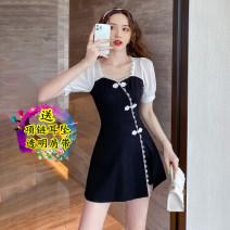Dress Winter 2021 Black two piece set S,M,L,XL,2XL Short skirt Two piece set commute 18-24 years old Korean version