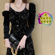 Dress Spring 2021 Black original S,M,L Mid length dress singleton  Long sleeves commute High waist Solid color Big swing 18-24 years old Type A Korean version